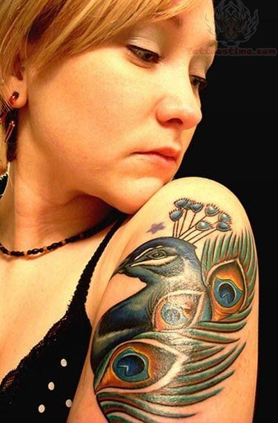 Peacock Girl Shoulder Tattoo