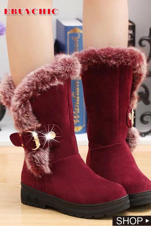 Woollen Low Heel Snow Boots