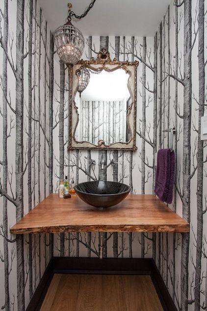 Bold wallpaper in the bath room / powder room Woods by Cole & Son, via Anthropolgie #TheHurstTeam #Houzz