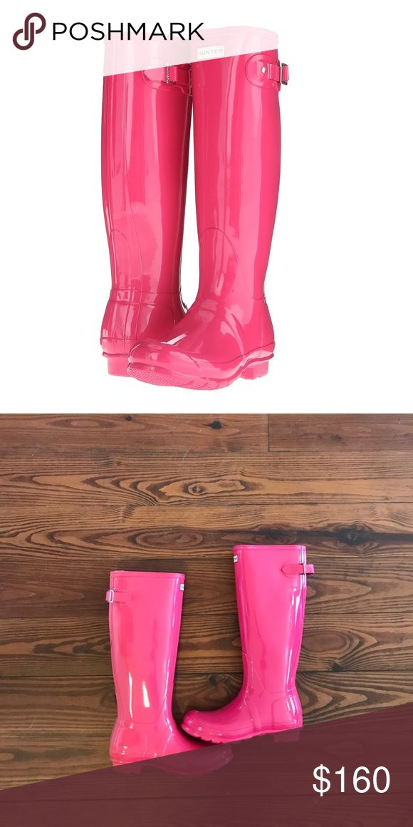 Hunter Rain Boots Classic Gloss in Pink Pink Hunter Boots Hunter Boots Shoes Winter & Rain Boots