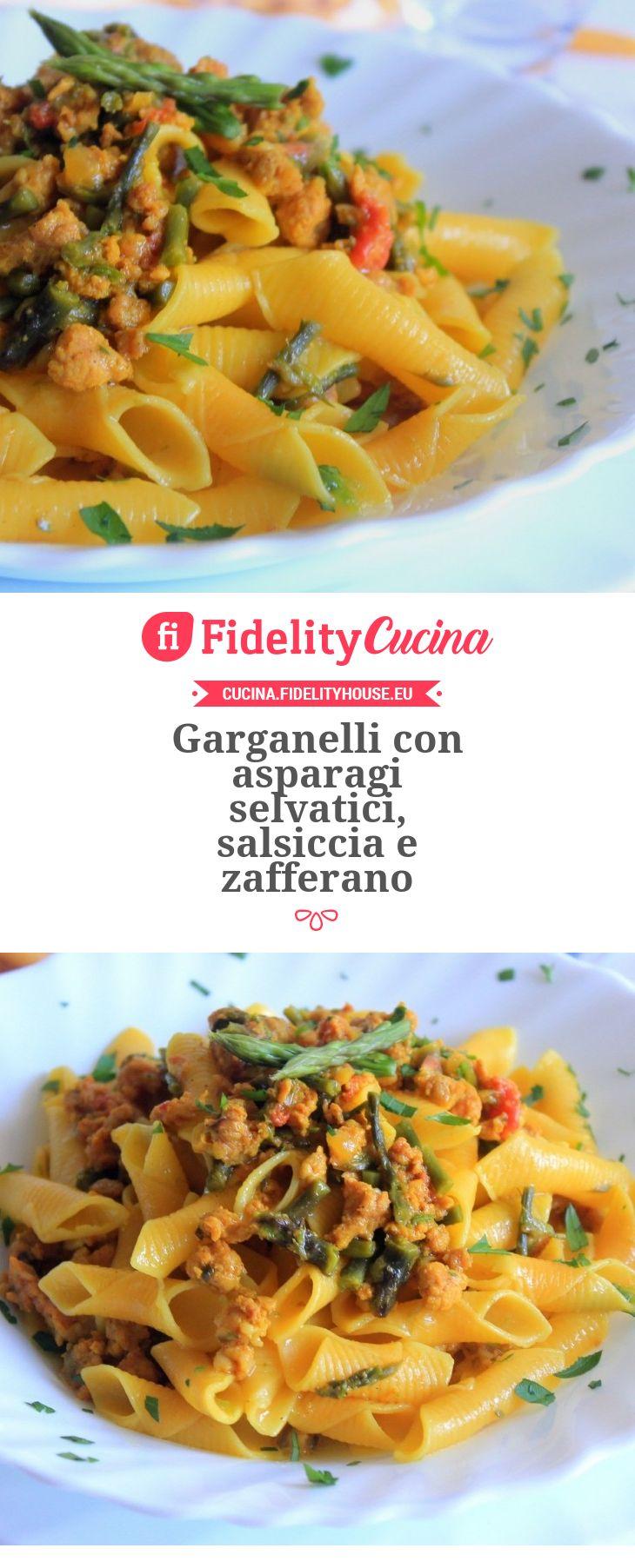 Garganelli con asparagi selvatici, salsiccia e zafferano