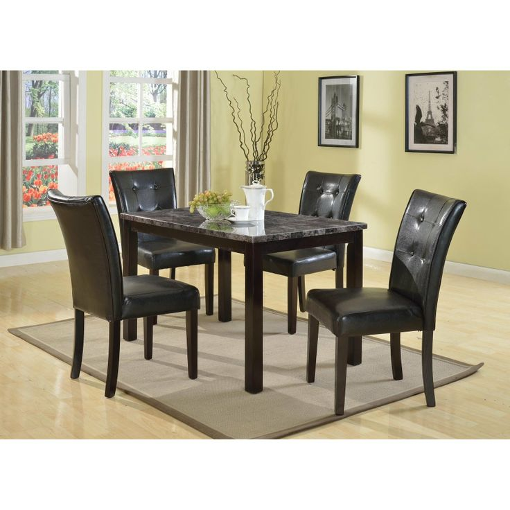 Praia 5PC Articifial Marble Top Dining Set Table 4 Chairs The Rich Contemporary Design