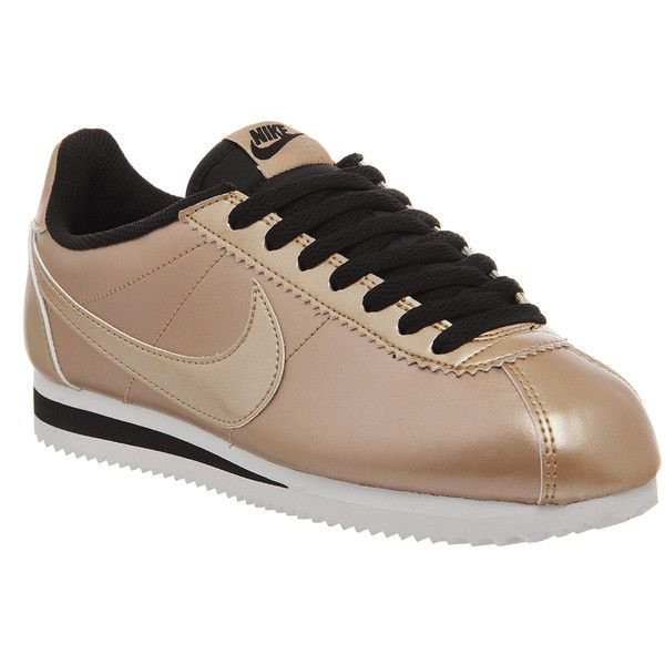 Nike Classic Cortez Og (1,765 MXN) ❤ liked on Polyvore featuring shoes, athletic shoes, trainers, metallic bronze black leather, unisex sports, leather athletic shoes, black shoes, nike shoes, black running shoes and nike athletic shoes