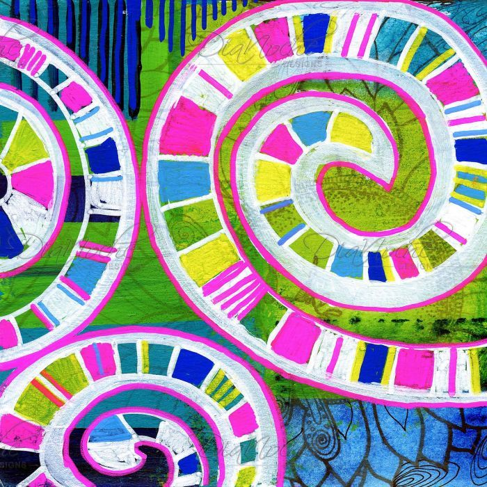 Bedroom Home and Office Window Curtains | Robin Mead - Round And Round | Spiral Patterns | Pink Green Blue Yellow White