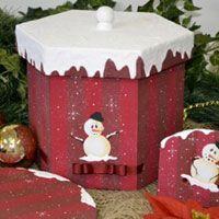Porta Panetone com Boneco de Neve – Tinta Gato Preto