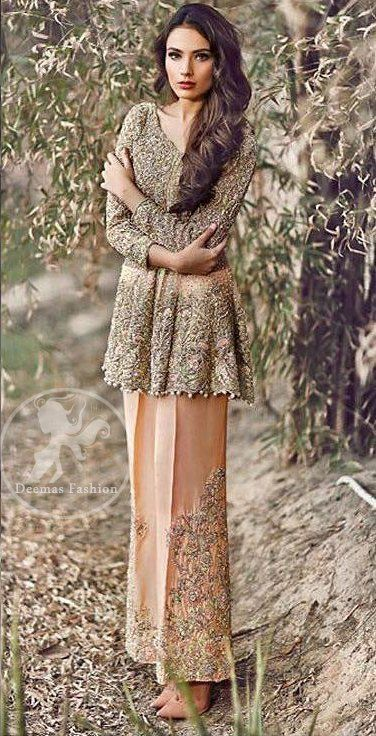 Peach Party Wear Short Frock - Embroidered Pants