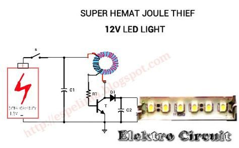 Joule thief 1 5v to 12v led light circuit super hemat