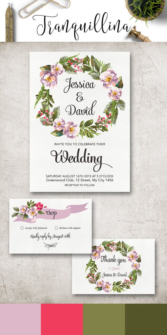 Floral Wedding Invitation Printable, Lilac Wedding Invite, Watercolor Floral Wreath with lavender and pink flowers, Boho Wedding Stationery. DIY wedding, Lilac and Green Wedding Theme. For more wedding invitations check the following link: tranquillina.etsy.com