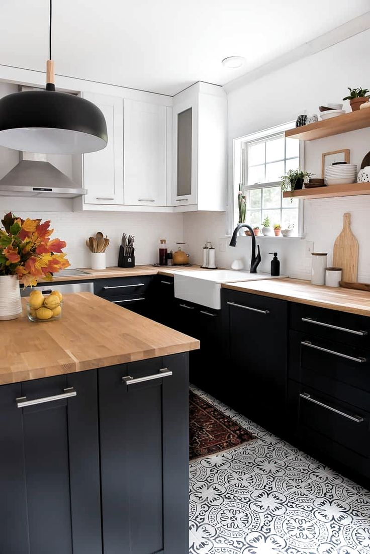 Modern kitchen with deep walnut open shelves natural wood ...