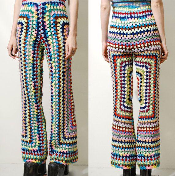 CROCHET Pants Rainbow Granny Square Flares Crochet Bell Bottoms Crochet Flares…