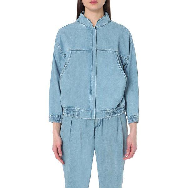 69 Denim bomber jacket ($500) ❤ liked on Polyvore featuring outerwear, jackets, blue bomber jacket, denim bomber jacket, blue jackets, collar jacket and blue denim jacket