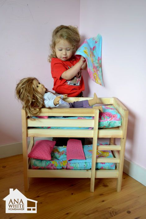 $ 10 DIY Bunk Bed for two dolls.....we need like 10 of these.