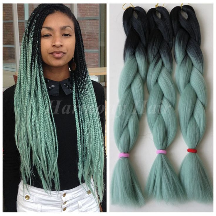 "Find More Bulk Hair Information about 5pcs 100g/pc 24"" Black&Mint/Dull Green Ombre Two Tone Kanekalon Jumbo Box Braiding Synthetic Dreadlocks Hair,High Quality box robe,China hair box packaging Suppliers, Cheap hair accessory box from Splendid Harmony Xtension Hair on Aliexpress.com"