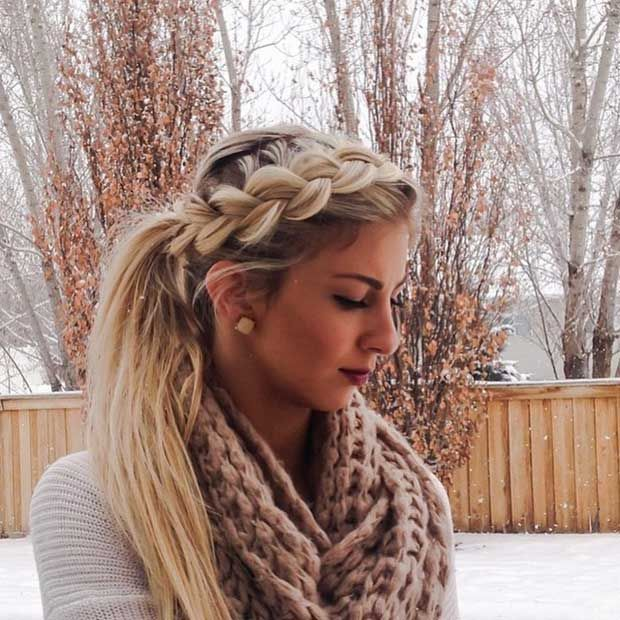 Big Dutch Braid into a Ponytail