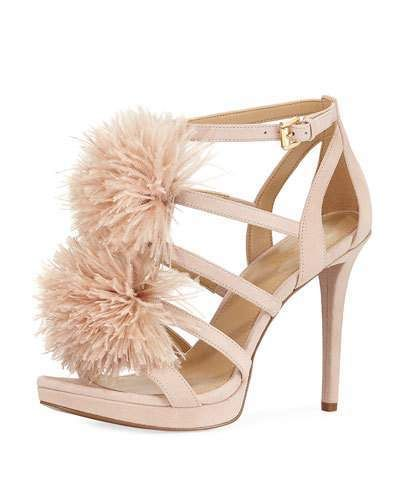 MICHAEL Michael Kors Fara Suede Feather Pouf Sandal. Evening Sandal  fashions. I'm