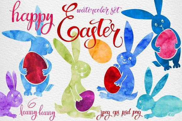 Watercolor set with Easter bunny . by maritime_m on @creativemarket