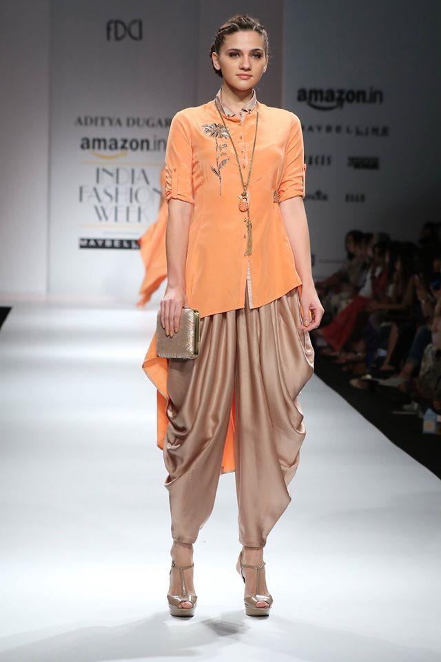 Dhoti pants asymmetric top Inspiration for pink pure silk ikkat top
