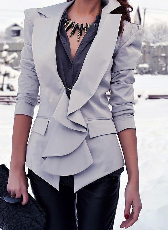 #winter #fashion /  Grey Blazer