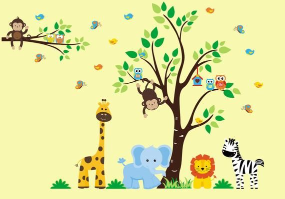 Zoo Animal Wall Mural 82 x 105 Baby Nursery Decor Nursery Wall Decals Safari and Jungle Wall Decals Removable Nature Wall Art