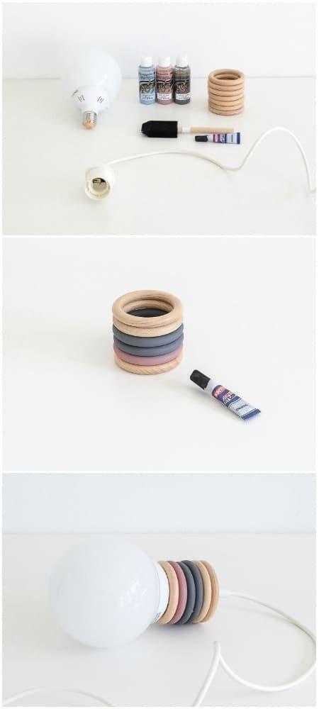 Wie man eine Design Pendelleuchte mit Vorhangringen recycelt – #Curtain #design … #WoodWorking