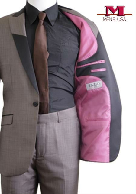 Buy one button peak trimmed lapel suit and discover all the trends and modern fit look in it.