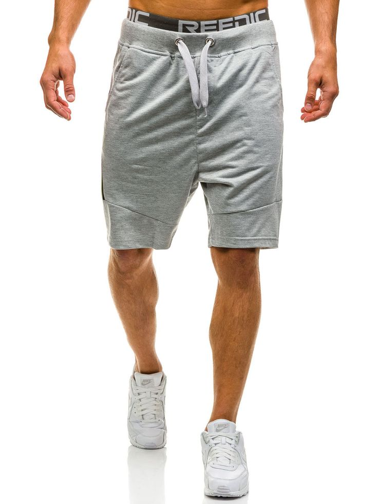 Grey men's shorts Manufactured for Bolf by J.Style The model (182 cm, 82 kg) is wearing size XL Fabric: 65% Cotton, 35% Polyester
