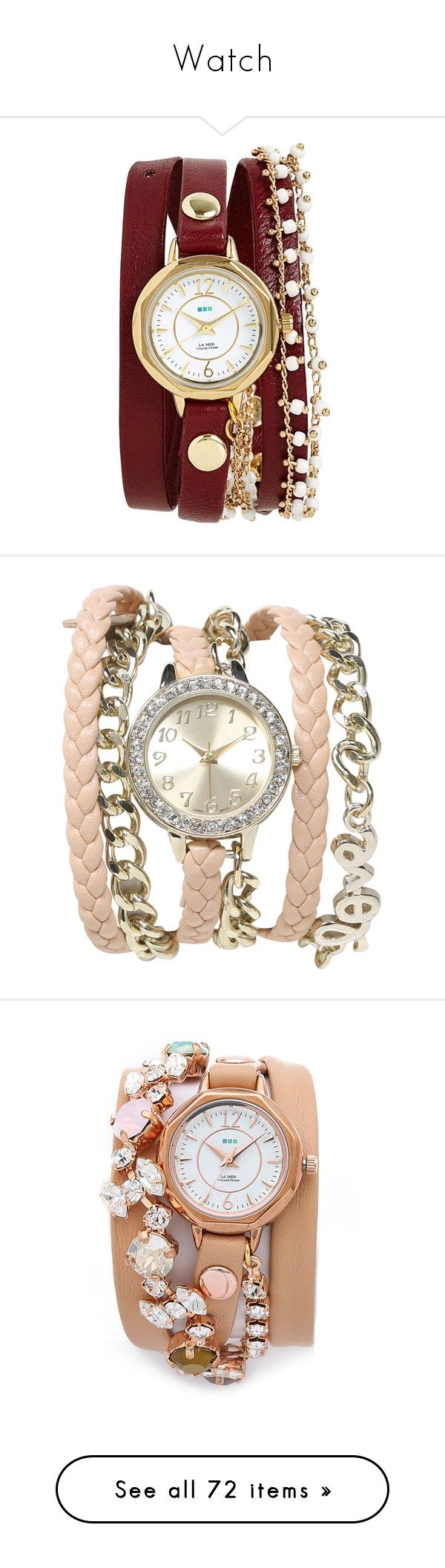"""""""Watch"""" by dorastyles-clxiv ❤ liked on Polyvore featuring watch, jewelry, watches, accessories, bracelets, relogio, burgundy, la mer jewelry, chain link watches and beaded watches"""