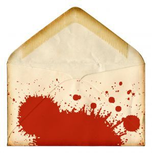 splattered blood envelope for invitations