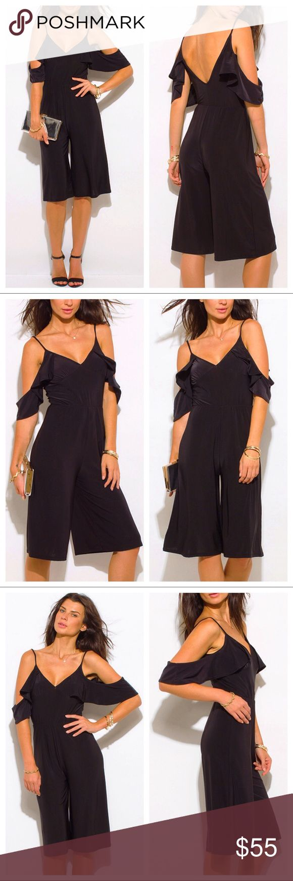 Black Off the Shoulder Flutter Sleeve Jumpsuit 🌻 NWT - Black Off the Shoulder Bustier V Neck Flutter Sleeve Wide Leg Evening Playsuit Jumpsuit. New, direct from maker. Great for Birthday, Anniversary, Gift, Present, Vacation, Cruise, Wedding, Pool, Cover Up, Date, Night, Spring, Summer, Sexy, Casual, lounging, Daytime, Party. 96% polyester/4% spandex. Pants Jumpsuits & Rompers