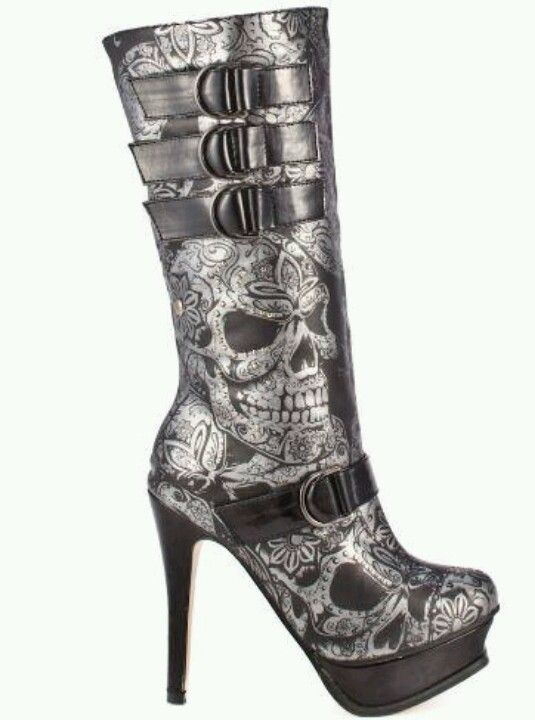 Skulls. I just fell in love with these boots! <3