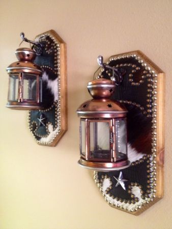 WESTERN DECOR COWHIDE TEA LIGHT CANDLE LANTERN WOOD WALL SCONCES Western Decor by Signature ...