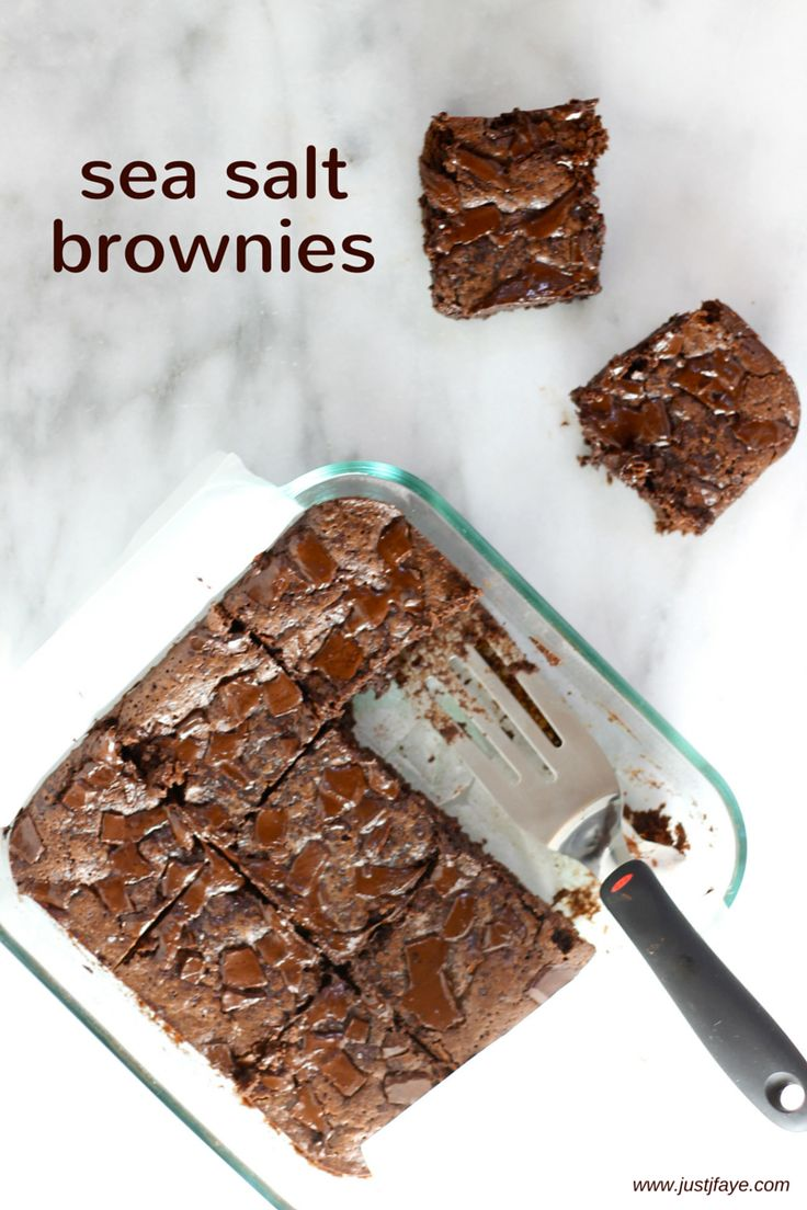 A recipe for the most amazing and delicious chocolatey, fudgey, gooey sea salt brownies. | www.justjfaye.com #brownies #baking