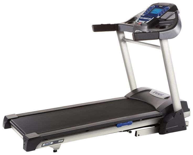 """Fuel Fitness FT98 Treadmill. Powerful treadmill with 3.0 continuous horsepower (CHP) motor to support a lifetime of training. Vivid 7.5"""" LCD display with blue backlit for quick review of workout progress, stats and programs. Features multiple pre-set programs to help get you started and motivated towards your personal goals. Built-in cooling fan keeps you cool and comfortable as you pick up the pace during workouts. Manufacturer's Warranty: Lifetime frame, 3 year parts, 1 year in-home labor."""