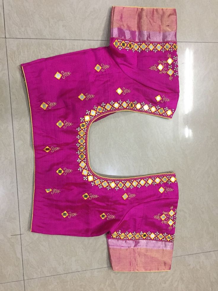 Mirror work blouse with pattu sleeves