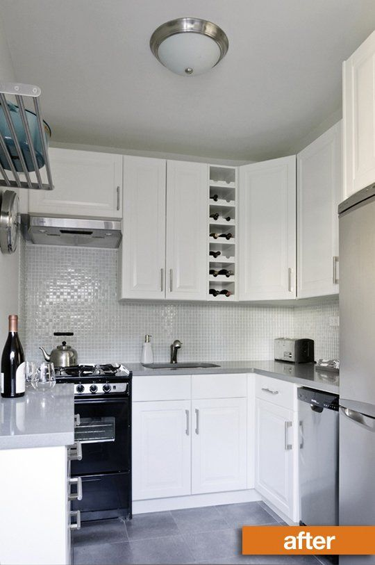Before & After: Lisa's Brooklyn Kitchen Makeover on a Budget — Sweeten - Ikea Cabinets Akurum in Lidi White