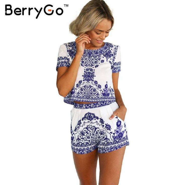 BerryGo 2016 summer style porcelain print two piece jumpsuit romper Women short sleeve crop top playsuit female Vintage overall