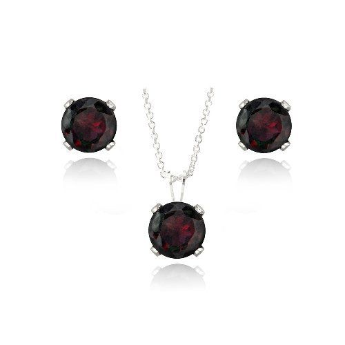 Sterling Silver 3ct Garnet Solitaire Pendant & Earrings Set SilverSpeck.com. $14.99. Save 80% Off!