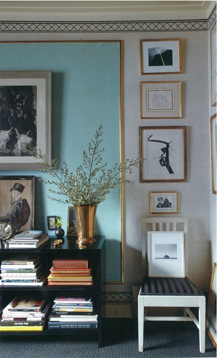 """Adore this blue color accented with gold and """"framed"""" in the black and white mini-print wallpaper. Simply stunning and stunningly simple-by the legendary Albert Hadley."""