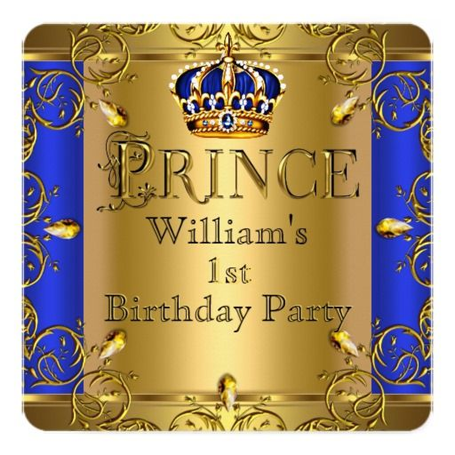 Prince 1st Birthday Boy Royal Blue Gold Crown Invitation Cards