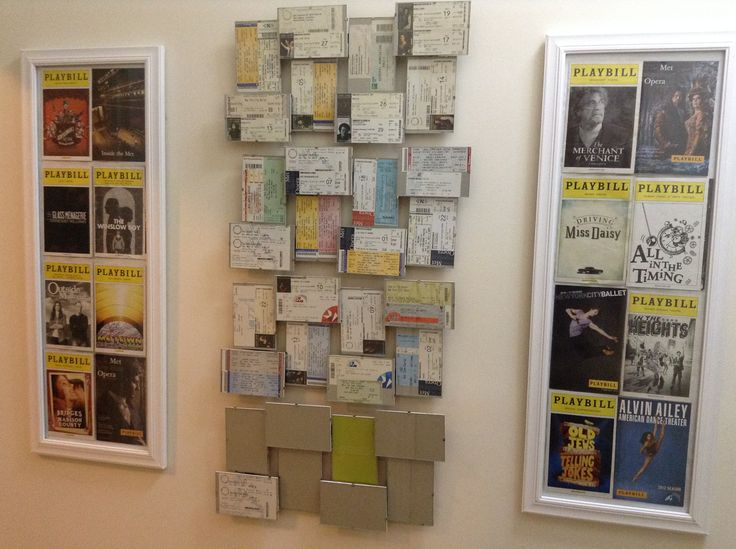 We designed an artistic presentation of theater tickets and playbills using floating frames and vertical frames. The combination creates a wall sculpture that makes each ticket accessible for easy viewing. #theater #tickets #playbills #display #frames #creative #structure @garyrlogindmd garylogin.com