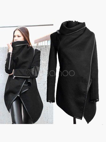 Black Long Sleeves Zipper Cotton Blend Woman's Coat - Milanoo.com