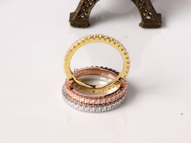 925 стерлингов diamant три цвета кольцо полосы полный проложили diamant кольца наборы настроить размер США от 4 до 12 (ПБ)