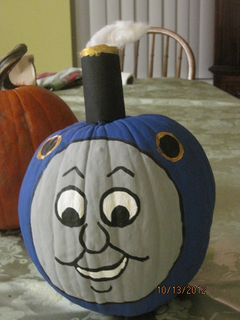 For my grandson, who is a Thomas the Train lover.  A Pumpkin Thomas!