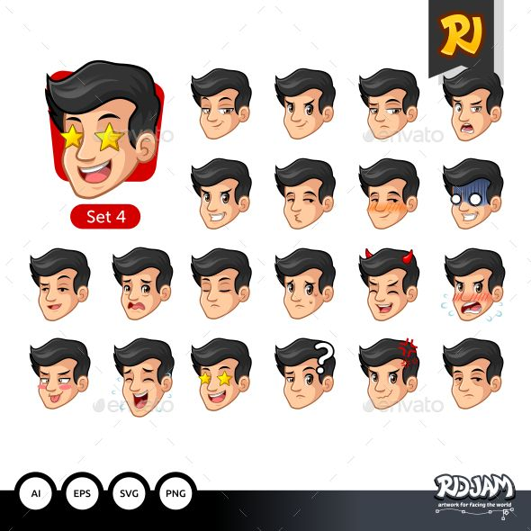 The Fourth Set Of Male Facial Emotions With Black Hair Cartoon Character Design Black Hair Character Design