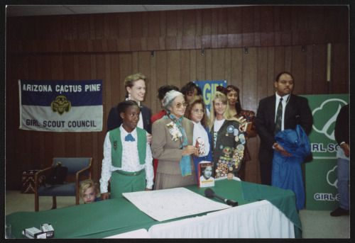Rosa Parks visiting the Arizona Cactus-Pine Girl Scout Council, 1992.  Find Girl Scout Cookies