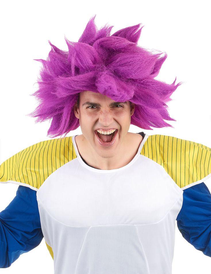 Perruque manga violette adulte : Cette perruque manga pour adulte est de couleur violet fluo. Elle possède une coupe de cheveux ébouriffés qui forme de larges piques sur la tête.Cette perruque sera...