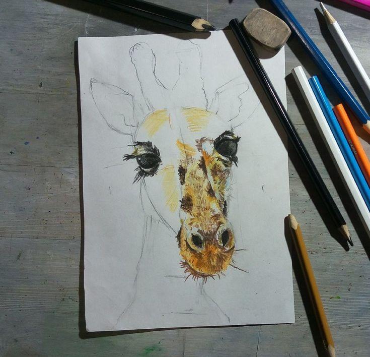 Рисуем жирафа цветными карандашами | Цветные карандаши ...