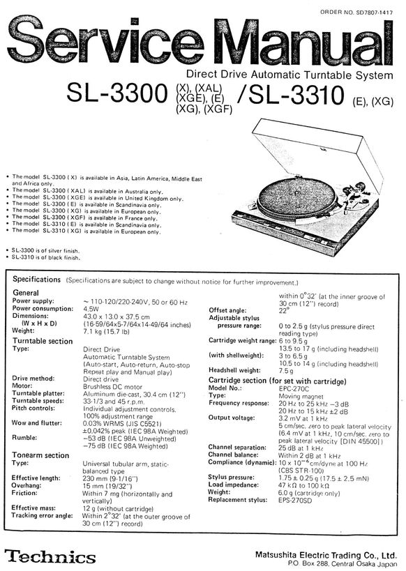 Technics SL-3300 , SL-3310 , Service Manual & Supplement  * PDF format suitable for all Windows DOWNLOAD