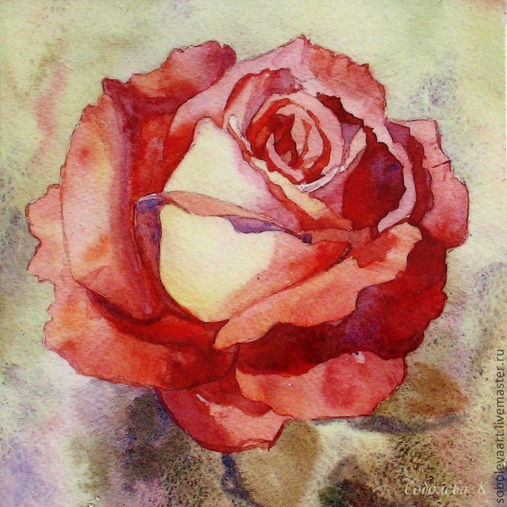 """Купить Картина розовая Роза """"Медовая глазурь"""" Декоративное панно чайная роза…"""