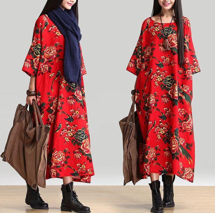 Women Cotton Linen Loose Fitting Long Maxi Dress Short Sleeve Summer Dresses…